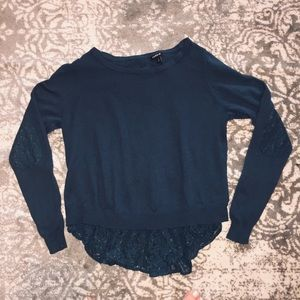Torrid Green Button Back Sweater with Elbow Patch